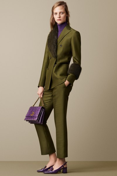 green suit made of faux fur collar with imitation sweater