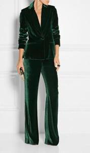 dark green velvet suit jacket with matching trousers with wide legs