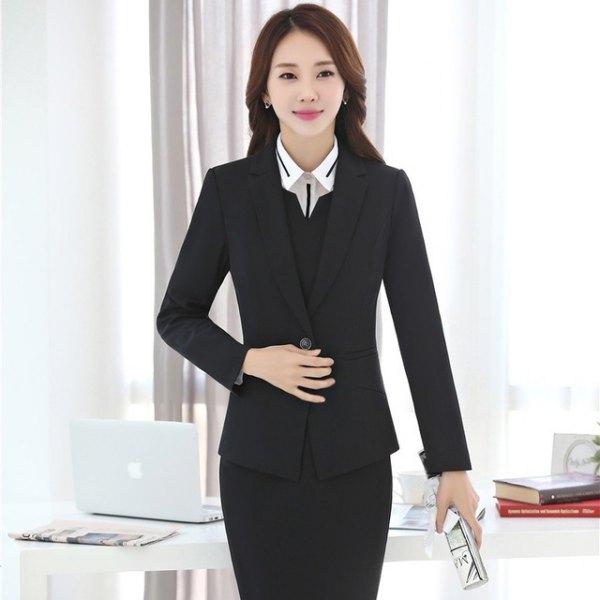 black blazer with pencil skirt and v-neck vest