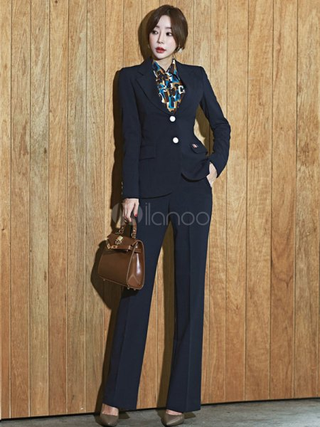 black slim fit blazer with matching trousers with wide legs and printed shirt
