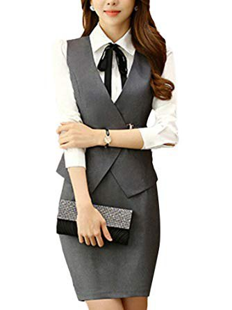 white shirt with buttons, gray, slim-fit vest and figure-hugging mini skirt