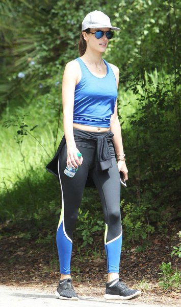 short tank top with blue scoop neck and running pants