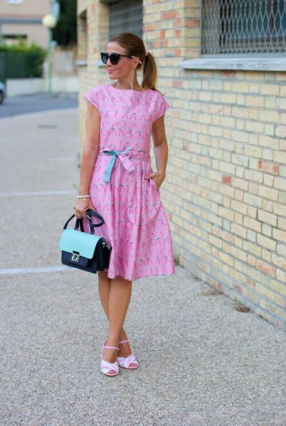 Light blue midi dress with waist cap and sleeve sheath and matching sandals