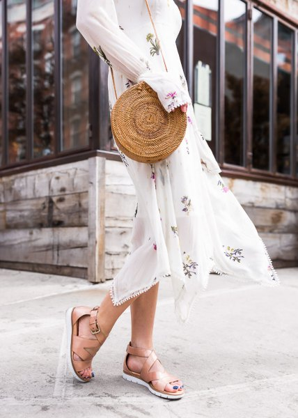 white long-sleeved midi chiffon fit and flare dress with naked hiking sandals