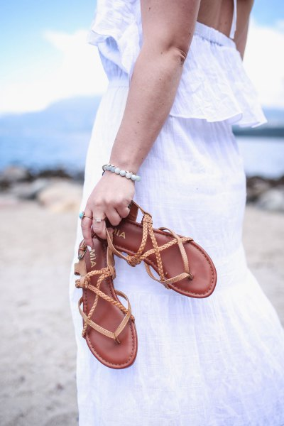 white tank maxi dress with brown hiking sandals