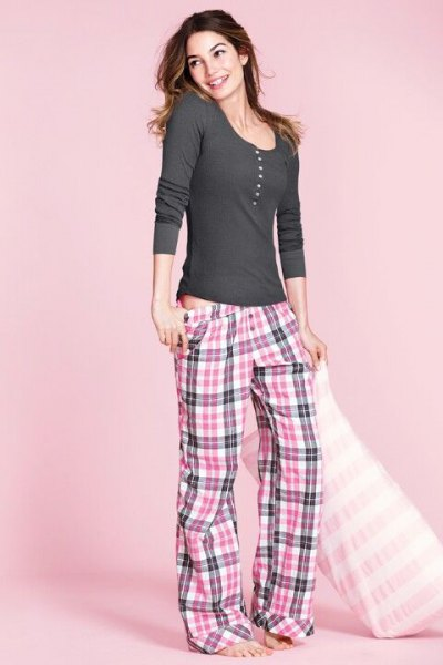 gray and white checkered pajama bottoms with a low waist and long-sleeved scoop t-shirt