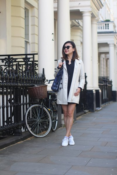 white longline blazer with black mini shift dress and sneakers