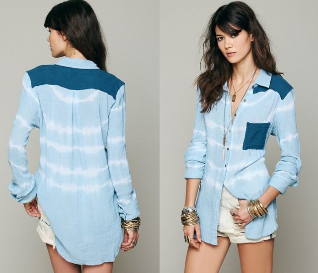 light blue and white striped chambray long sleeve shirt with pink shorts