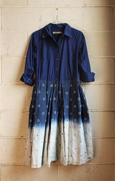 Dark blue and white batik color block shirt dress