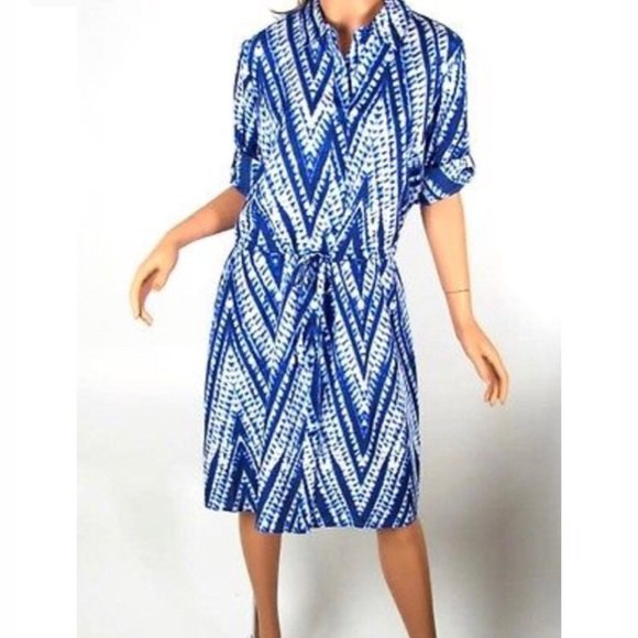 blue and white tribal printed batik shirt dress
