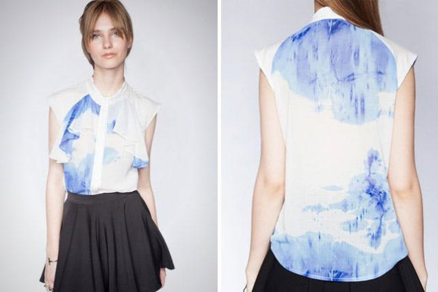 blue and white chiffon tie shirt with black miniskirt