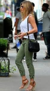 white tank top with army green trousers with cuffs and wedge sandals