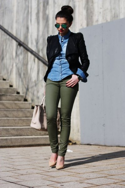 blue chambray shirt with black blazer and army green chinos