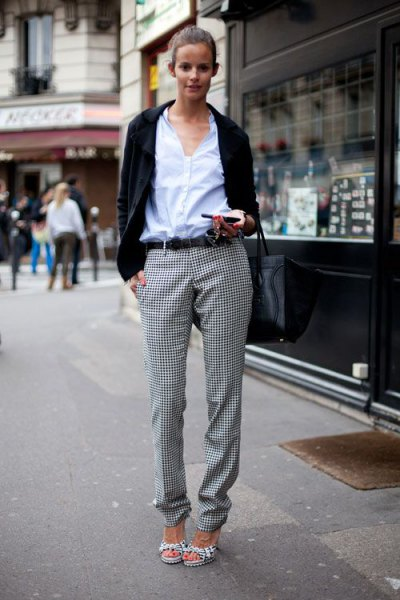 white shirt with buttons, black leisure blazer and checkered flannel trousers