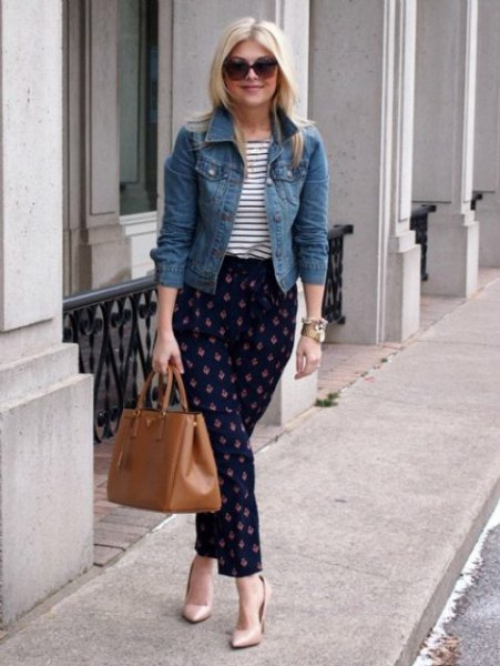 blue denim jacket with striped t-shirt and dark blue flannel trousers