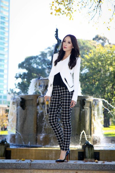 white blazer with black checked flannel trousers