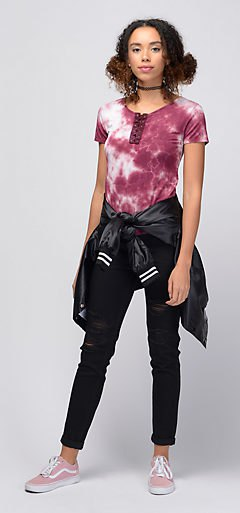 tailored t-shirt with black skinny jeans with cuffs and bomber jacket