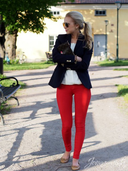black blazer with white shirt and red skinny pants