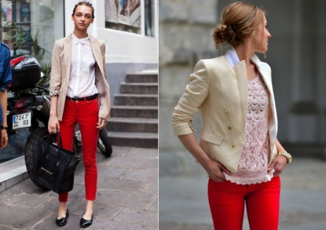 Light pink blazer with white shirt and red skinny pants