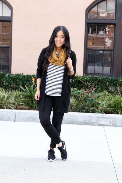 black cardigan with striped t-shirt and hiking shoes