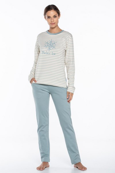 light gray and white striped graphic T-shirt with loosely cut trousers