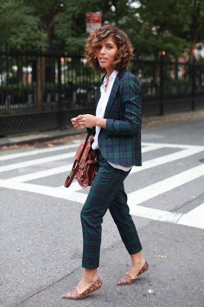 Dark blue and green checkered blazer with white shirt