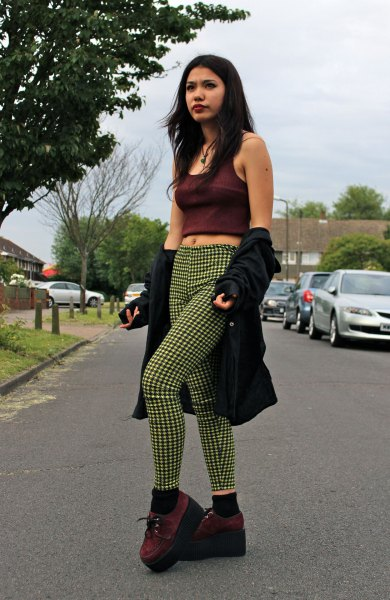 black short tank top with shocking green checked tube pants