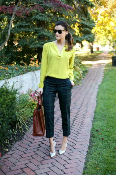 Lemon yellow long-sleeved blouse made of cotton with checked trousers in green and navy blue