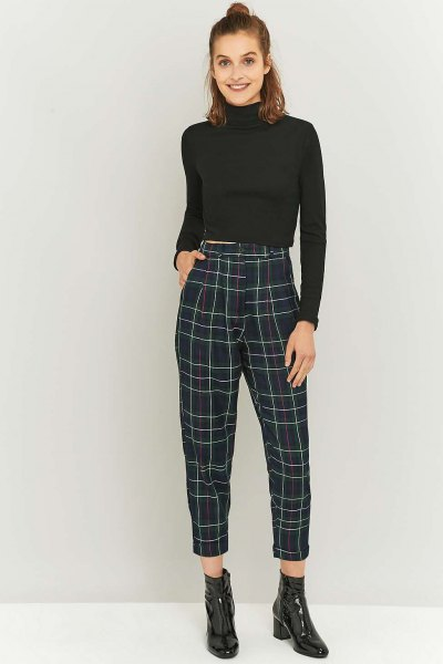 shortened mock neck sweater with black and white checked pants