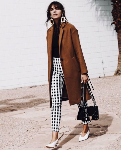 green longline blazer with black and white checked pants