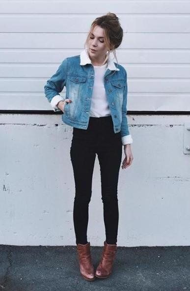 blue denim jacket with white fur collar and brown leather boots