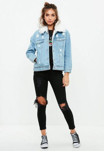 blue denim jacket with fur and black destroyed skinny jeans