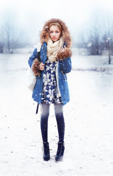blue longline denim jacket with white knitted scarf and tunic top