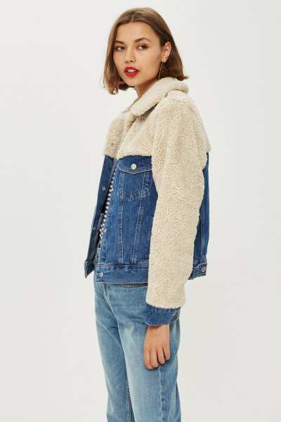 light pink fleece and jeans two-tone jacket with boyfriend jeans