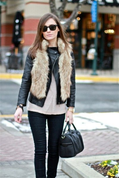 black moto jacket with faux fur vest and skinny jeans