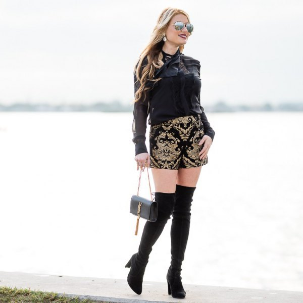 black long sleeve blouse with tribal printed designer shorts