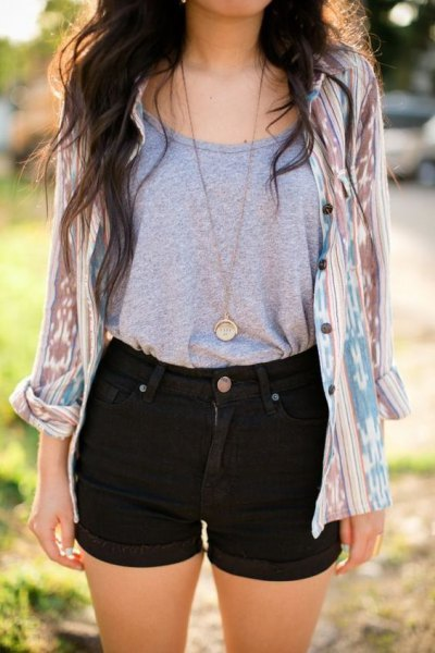 gray tank top with scoop neck and blushing pink tie shirt