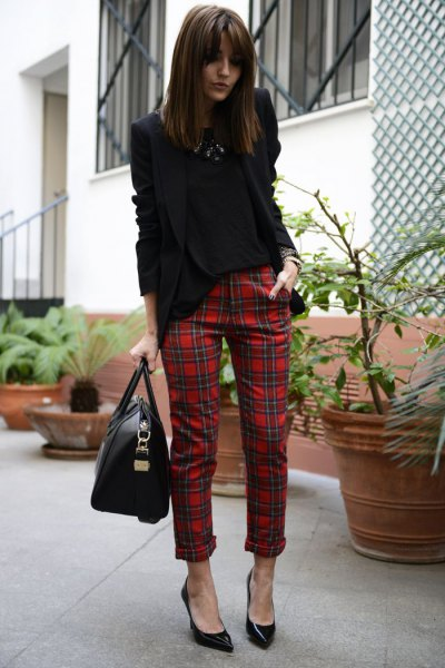 black blazer with red checked tube pants with cuff