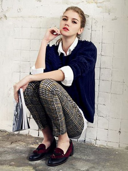black sweater with white shirt with collar and checkered skinny pants