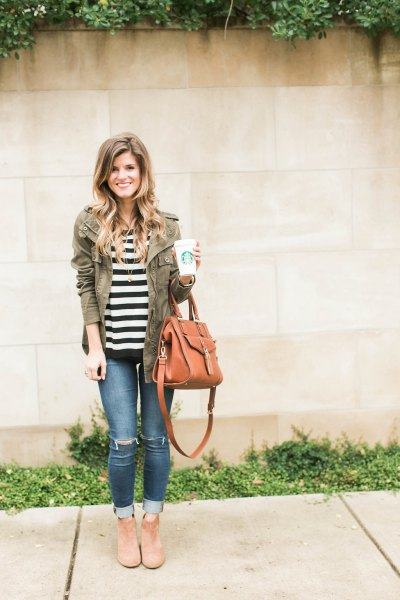 black and white striped t-shirt with gray autumn jacket