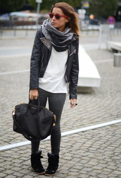 black leather jacket with white t-shirt and gray silk scarf