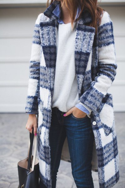 blue and white checkered long wool coat with ribbed sweater
