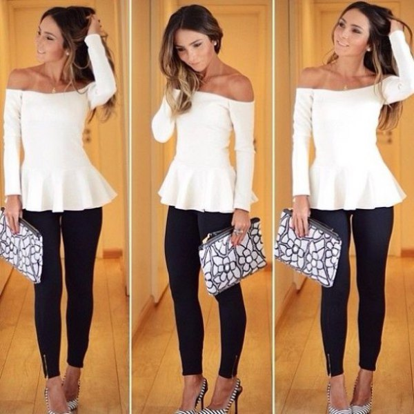 white, strapless, elegant tunic blouse with black skinny jeans