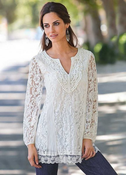 white lace dress blouse with dark blue skinny jeans