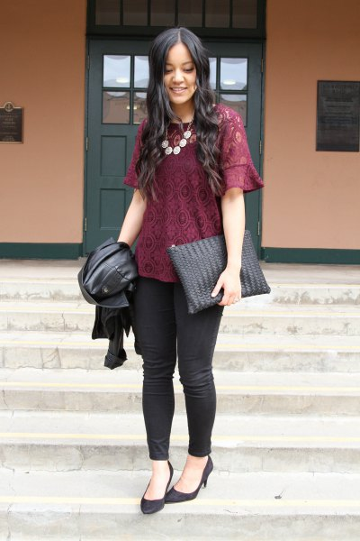 black lace blouse with skinny jeans and ballerinas