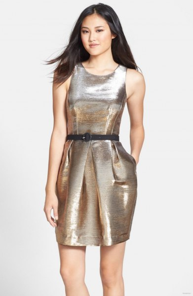 silver metal dress with belt and open toe heels