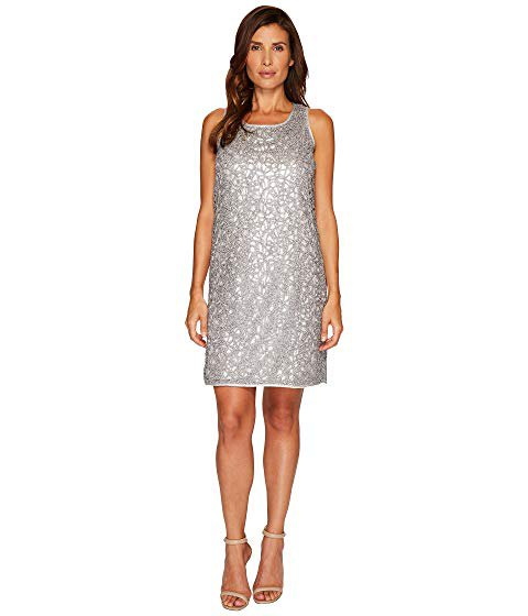 silver mini dress made of metal with a scoop neck and open toe heels