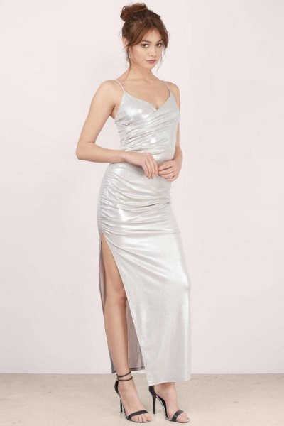 white maxi high split bodycon maxi dress with open toe heels