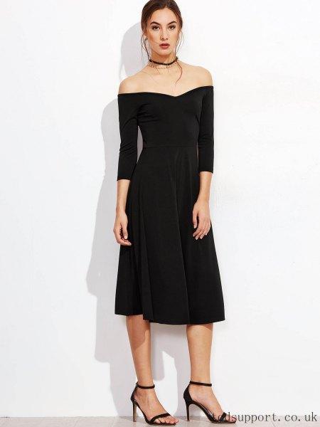 Black strapless midi zip dress with collar