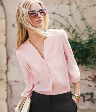 Light pink chiffon shirt with buttons and black chinos